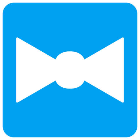 Bow Tie vector icon. Image style is a flat icon symbol perforated in a blue rounded square shape.
