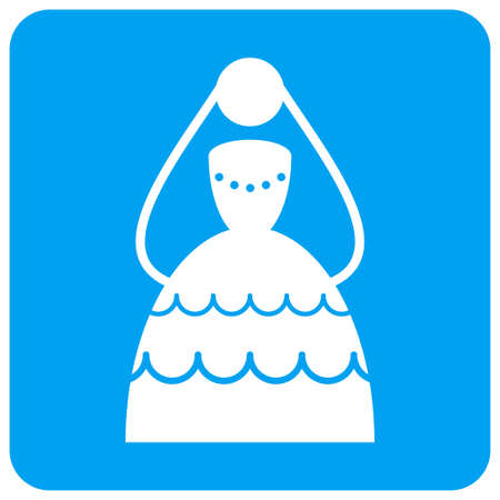 Bride vector icon. Image style is a flat icon symbol perforated in a blue rounded square shape. Illustration