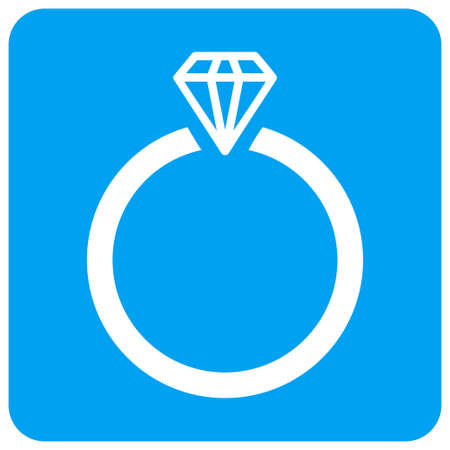 Diamond Ring vector icon. Image style is a flat icon symbol perforated in a blue rounded square shape. Illustration