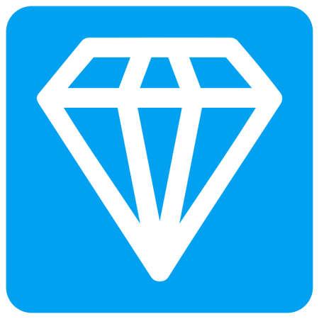 다이아몬드 벡터 아이콘입니다. 이미지 스타일은 파란색 둥근 사각형 모양으로 뚫린 납작한 아이콘 심볼입니다. 스톡 콘텐츠 - 88401231
