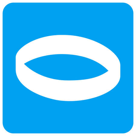 Gold Ring vector icon. Image style is a flat icon symbol perforated in a blue rounded square shape. Illustration