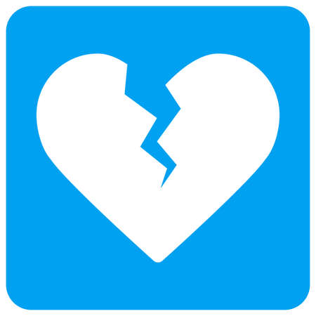 Divorce Heart vector icon. Image style is a flat icon symbol perforated in a blue rounded square shape. Illustration