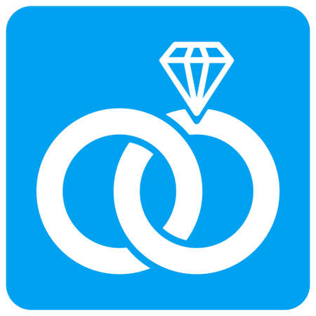 Jewelry Wedding Rings vector icon. Image style is a flat icon symbol perforated in a blue rounded square shape.