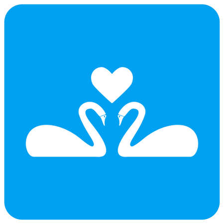 Love Swans vector icon. Image style is a flat icon symbol perforated in a blue rounded square shape.