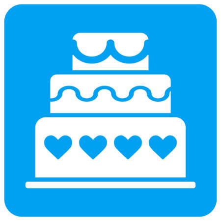 Marriage Cake vector icon. Image style is a flat icon symbol perforated in a blue rounded square shape.