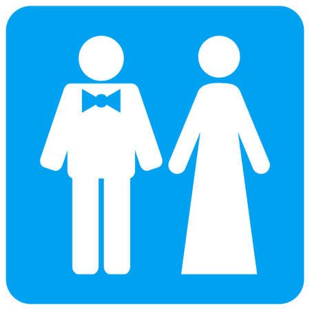 Just Married Persons vector icon. Image style is a flat icon symbol perforated in a blue rounded square shape.