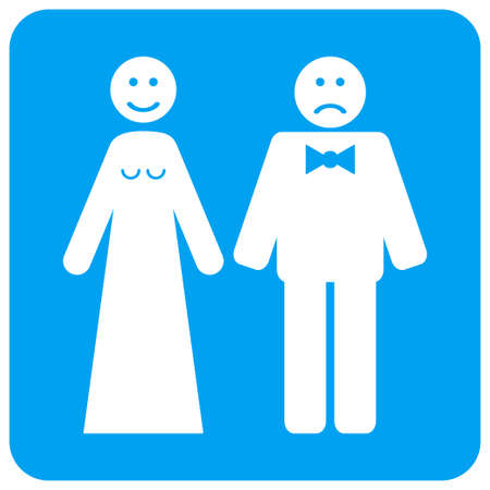 Wedding Emotions vector icon. Image style is a flat icon symbol perforated in a blue rounded square shape. Illustration