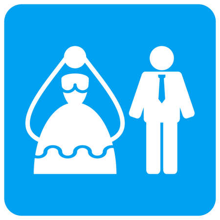 Marriage Persons vector icon. Image style is a flat icon symbol perforated in a blue rounded square shape.