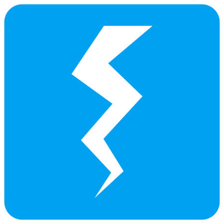 Thunder Crack vector icon. Image style is a flat icon symbol perforated in a blue rounded square shape.