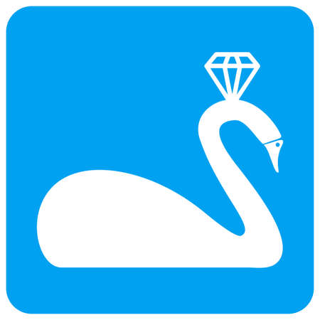 Crowned Swan raster icon. Image style is a flat icon symbol perforated in a blue rounded square shape.