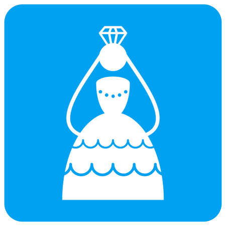 Crowned Bride raster icon. Image style is a flat icon symbol perforated in a blue rounded square shape.