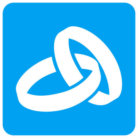 Wedding Rings raster icon. Image style is a flat icon symbol perforated in a blue rounded square shape.