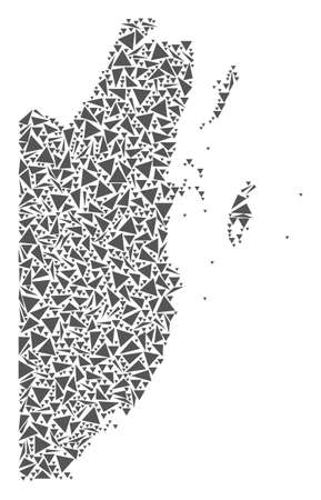 Vector mosaic abstract Belize map of flat triangles in gray color.