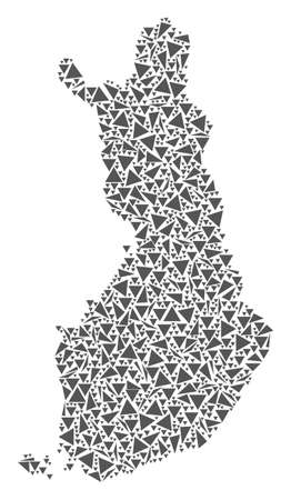 Vector mosaic abstract Finland map of flat triangles in gray color. Illustration