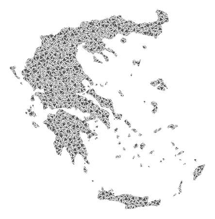 Vector mosaic abstract Greece map of flat triangles in gray color.