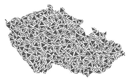 Vector mosaic abstract Czech map of flat triangles in gray color.