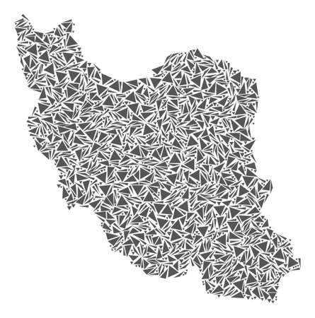 Vector mosaic abstract Iran map of flat triangles in gray color.