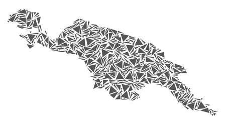 Carte de l'île de Nouvelle-Guinée abstraite de mosaïque vectorielle de triangles plats de couleur grise. Vecteurs