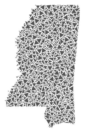 Vector mosaic abstract Mississippi State map of flat triangles in gray color. Illustration