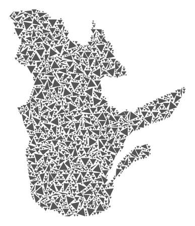 Vector mosaic abstract Quebec Province map of flat triangles in gray color.