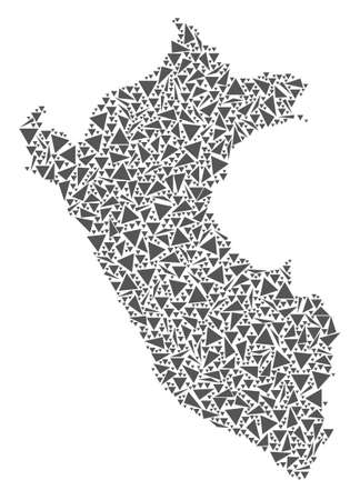 Vector mosaic abstract Peru map of flat triangles in gray color.