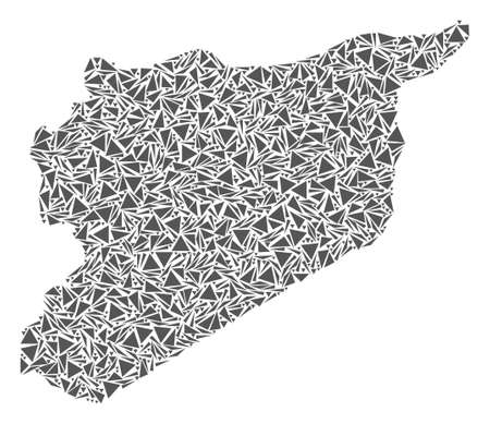 Vector mosaic abstract Syria map of flat triangles in gray color. Illustration
