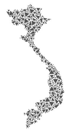 Vector mosaic abstract Vietnam map of flat triangles in gray color.