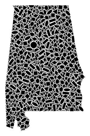 Mosaic map of Alabama State composed with black flat geometric shapes, such as triangles, stars, rectangles, circles, ellipses, segments, sectors, rhombuses, squares, polygons, semi-circles.