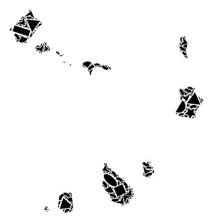 Mosaic map of Cape Verde Islands formed with black flat geometric shapes, such as triangles, stars, rectangles, circles, ellipses, segments, sectors, rhombuses, squares, polygons, semi-circles.