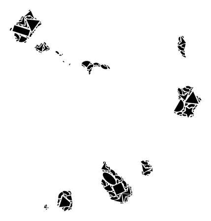 Mosaikkarte der Kapverdischen Inseln mit schwarzen flachen geometrischen Formen wie Dreiecken, Sternen, Rechtecken, Kreisen, Ellipsen, Segmenten, Sektoren, Rauten, Quadraten, Polygonen, Halbkreisen. Vektorgrafik