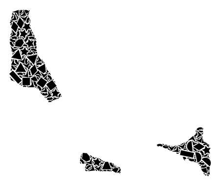 Mosaic map of Comoros Islands designed with black flat geometric primitives, such as triangles, stars, rectangles, circles, ellipses, segments, sectors, rhombuses, squares, polygons, semi-circles.