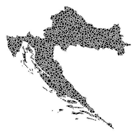 Mosaic map of Croatia designed with black flat geometric objects, such as triangles, stars, rectangles, circles, ellipses, segments, sectors, rhombuses, squares, polygons, semi-circles. Stock Photo - 110009403