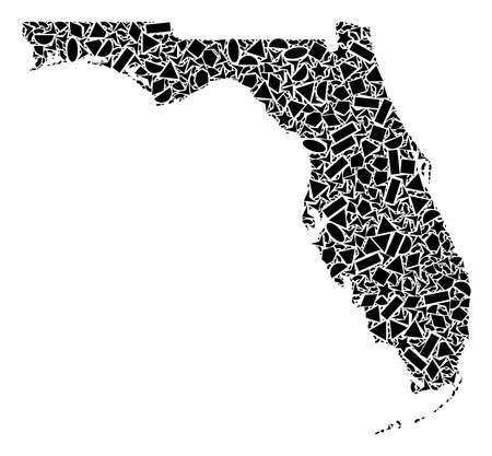 Mosaic map of Florida formed with black flat geometric figures, such as triangles, stars, rectangles, circles, ellipses, segments, sectors, rhombuses, squares, polygons, semi-circles.