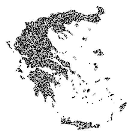 Mosaic map of Greece created with black flat geometric figures, such as triangles, stars, rectangles, circles, ellipses, segments, sectors, rhombuses, squares, polygons, semi-circles.