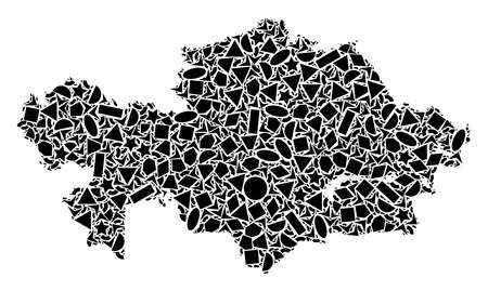 Mosaic map of Kazakhstan designed with black flat geometric shapes, such as triangles, stars, rectangles, circles, ellipses, segments, sectors, rhombuses, squares, polygons, semi-circles.