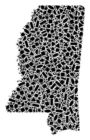 Mosaic map of Mississippi State designed with black flat geometric shapes, such as triangles, stars, rectangles, circles, ellipses, segments, sectors, rhombuses, squares, polygons, semi-circles. 向量圖像