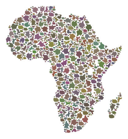 Mosaic map of Africa formed with colored flat stones. Vector varicolored geographic abstraction of map of Africa.
