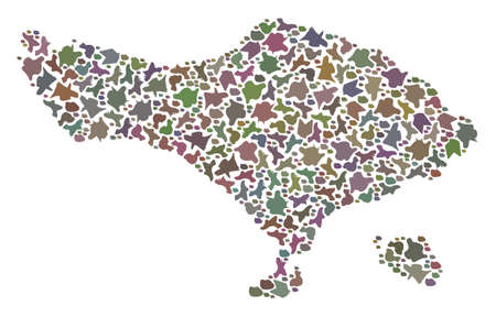 Mosaic map of Bali Island formed with colored flat pebbles. Vector pied geographic abstraction of map of Bali Island.
