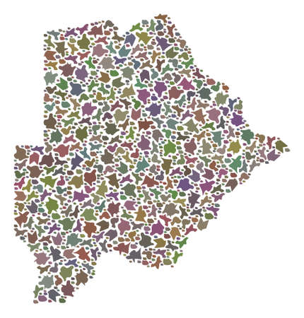 Mosaic map of Botswana designed with colored flat stones. Vector versicolor geographic abstraction of map of Botswana. Ilustrace