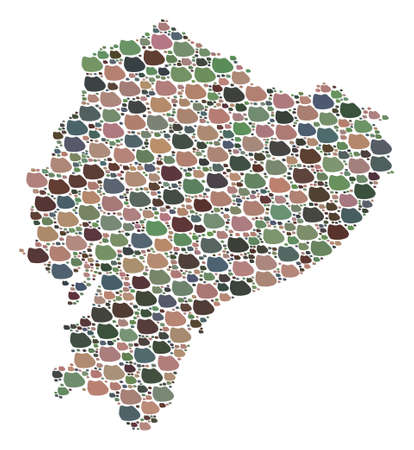 Mosaic map of Ecuador composed with colored flat pebbles. Vector particolored geographic abstraction of map of Ecuador. Ilustração