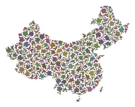 Mappa a mosaico della Cina composta da pietre piatte colorate. Astrazione geografica variopinta di vettore della mappa della Cina.