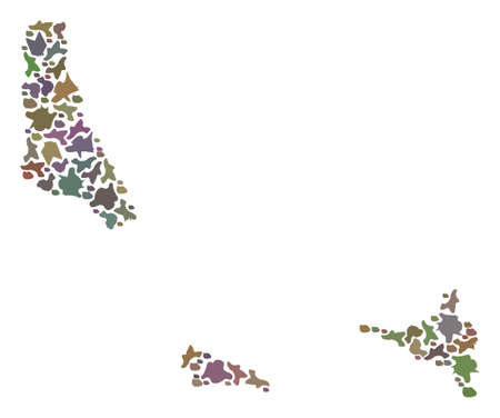 Mosaic map of Comoros Islands composed with colored flat stones. Vector pied geographic abstraction of map of Comoros Islands.