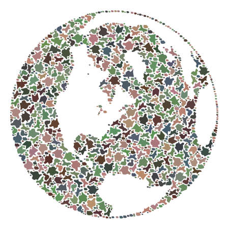 Mosaic map of global world formed with colored flat pebbles. Vector varicolored geographic abstraction of map of global world.