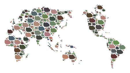 Mosaic map of Earth composed with colored flat concretions. Vector versicolor geographic abstraction of map of Earth.