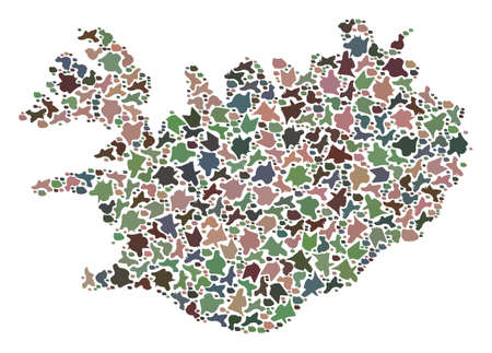Mosaic map of Iceland formed with colored flat concretions. Vector pied geographic abstraction of map of Iceland.