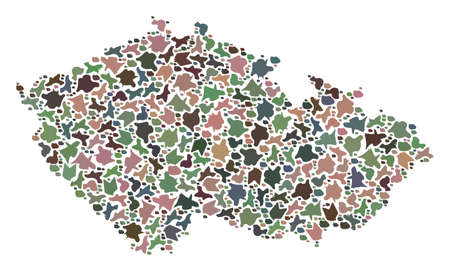 Mosaic map of Czech Republic designed with colored flat stones. Vector varicolored geographic abstraction of map of Czech Republic.