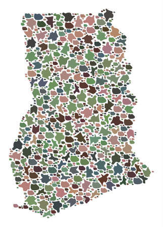 Mosaic map of Ghana designed with colored flat stones. Vector varicolored geographic abstraction of map of Ghana.