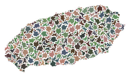 Mosaic map of Korean Jeju Island formed with colored flat stones. Vector varicolored geographic abstraction of map of Korean Jeju Island. Illustration