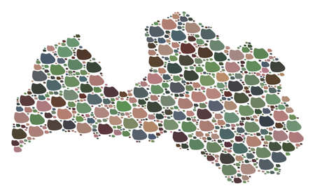 Mosaic map of Latvia designed with colored flat stones. Vector varicolored geographic abstraction of map of Latvia.