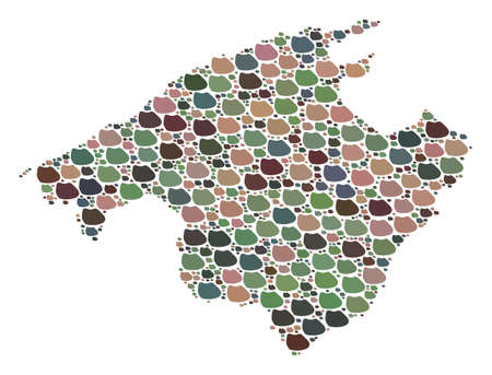 Mosaic map of Majorca created with colored flat pebbles. Vector pied geographic abstraction of map of Majorca. 写真素材